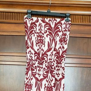 Damask print strapless maxi dress